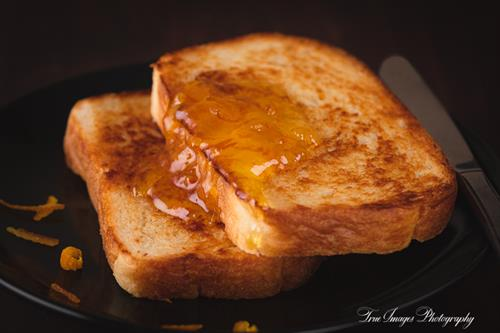 Toast made from home-made bread with marmalade