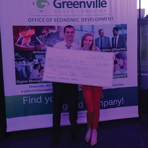 CEO Taylor (Hicks) Walden and Simple & Sentimental won the Uptown Greenville pitch competition February 21, 2018.
