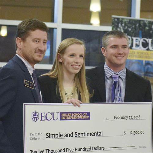 The very next day after the Uptown Greenville pitch competition, Taylor and Simple & Sentimental won the inaugural ECU Pirate Entrepreneurship Challenge.