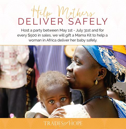 Our current donation is a mama kit to a woman in Uganda every time a hostess hits $500 in orders.  These mama kits provide medical supplies to help safely deliver their babies.