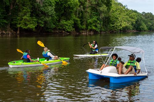 We offer dry bags, paddles, and life vests with all of our rentals.
