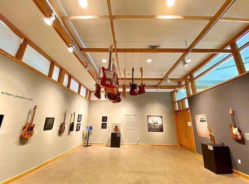 Rotating, traveling exhibitions come and go in the West Wing Gallery.  This current show features Freeman Vines' Hanging Tree Guitars.