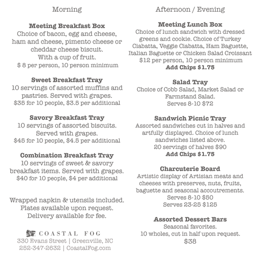 2018 Coastal Fog Catering Menu