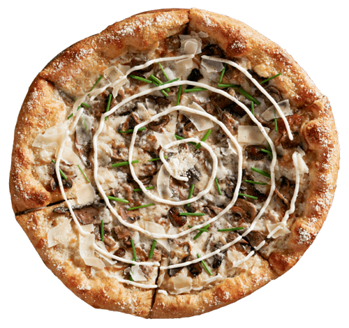 The Holy Shiitake Pie comes with olive oil and garlic base, shiitake, button and portobello mushrooms, caramelized onions, mozzarella, and MontAmore´®. Finished with a garlic aioli swirl and a spritz of black truffle oil. Garnished with fresh chives and shaved parmesan.