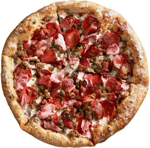 Our Mighty Meaty features mellow red sauce base with mozzarella, pepperoni, sausage, ground beef, ham and applewood smoked bacon.