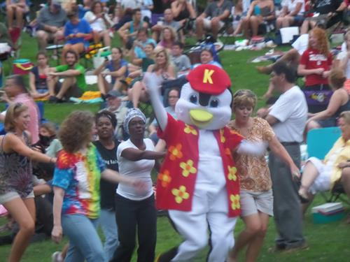 Kona the Penguin leads the conga line for Panyelo at Sunday in the Park 7/20/14
