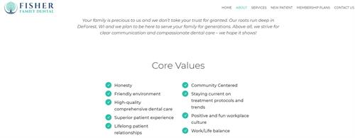Our Core Values at Fisher Family Dental