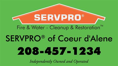 SERVPRO of Coeur d'Alene logo with contact info