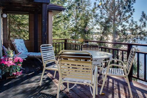 Enjoy sunny private patios during your Coeur d'Alene getaway!
