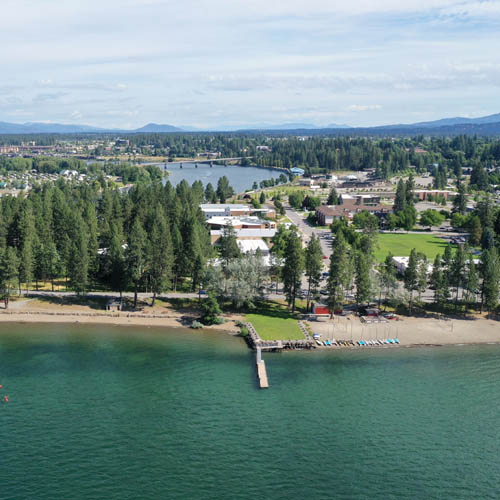 NIC's main campus rests on the shores of Lake Coeur d'Alene, along the Spokane river.