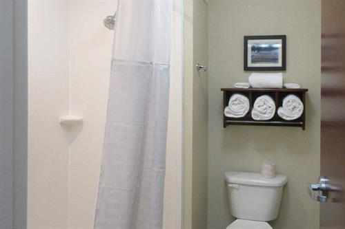 Comfort Inn & Suite walk in shower in our King Suite