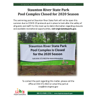 Pool Complex closed at Staunton River State Park for 2020 Season