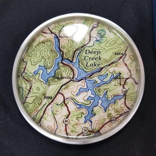 Deep Creek Lake map jewelry and bar accessories