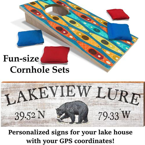 Custom Lake Signs and Mini Cornhole Sets