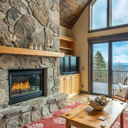 Rustic stone fireplaces like at Paradise Cove Vista