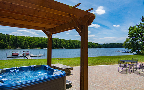Hot tubs with a view at Castle at the Lake!