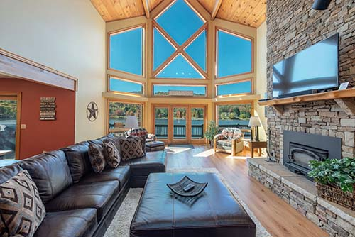 Stunning great room at Grandview Lodge!