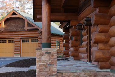 Log Home Portico & Garage