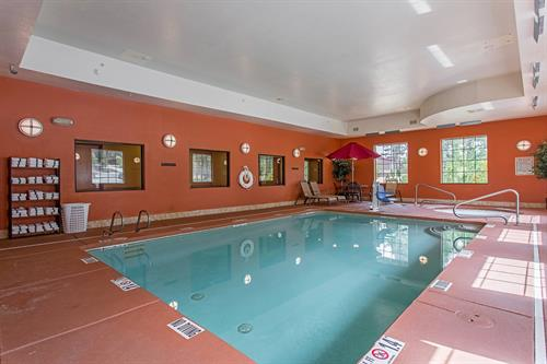Indoor heated pool and spa open all year