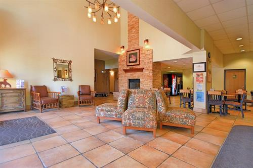 Hotel Lobby with fireplace.