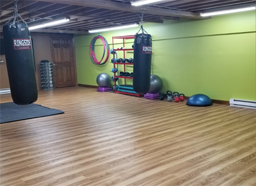 Studio Area: Kettlebells, dumbells 3lb-35lb, TRX bands, boxing bags (gloves & wraps provided)