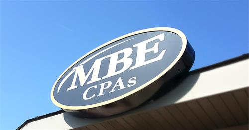 Front sign above door at MBE CPAs in Tomah, WI.