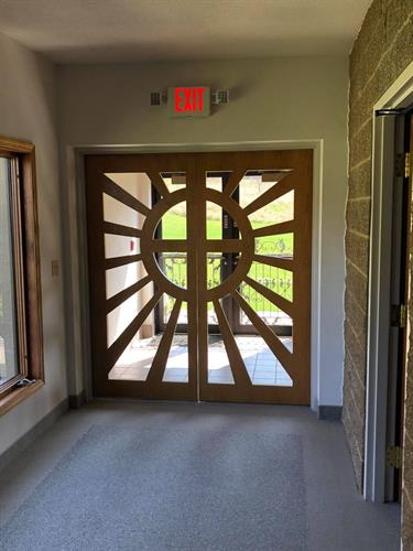 Door at end of hallway at Sparrows Nest