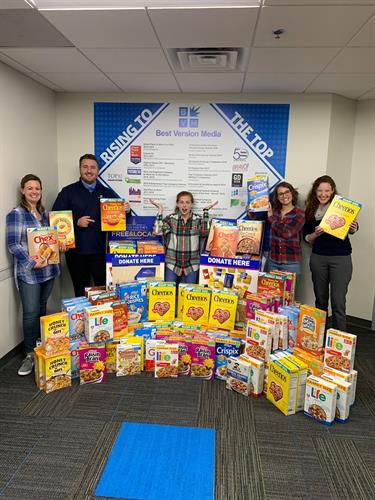 BVM donated more than 400 boxes of cereal to the Hunger Task Force during a 2019 food drive.