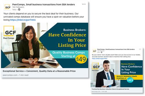 LinkedIn Ad campaign for GCF PeerComps