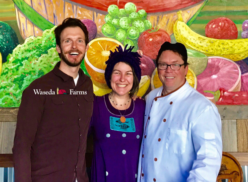 Lisa and Chef Bernie with Jeff from Waseda Farms
