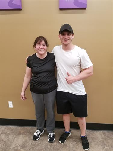 Our member of the month with her trainer, Dan Janeshek