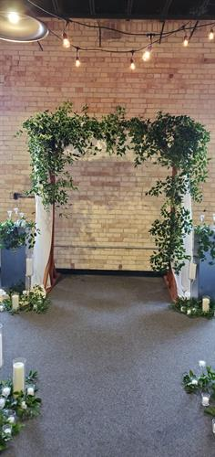 Ceremony wood & floral archway