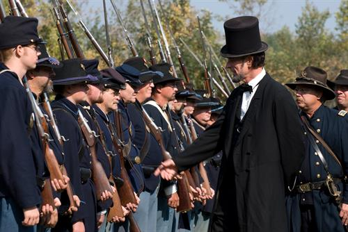 President Lincoln inspects the troops on Civil War Weekend