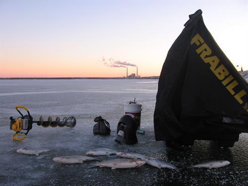 Sunrise in the Harbor ice fishing