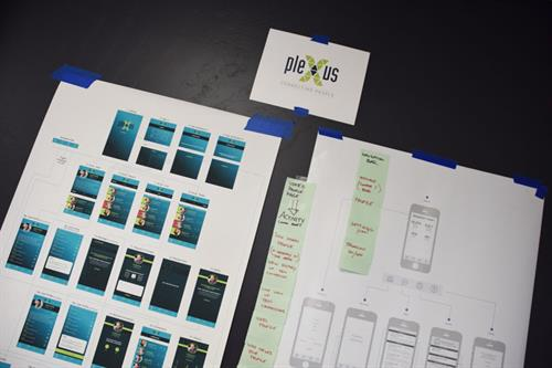A wireframe of an app being developed by Sun Graphics Media