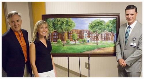 Cassy Tully - HSHS St. Nicholas Hospital - 125th Anniversary Commemorative Painting unveiling - Ben Salzmann, Acuity - Andy Bagnall, HSHS St. Nicholas Hospital - www.cassytully.com