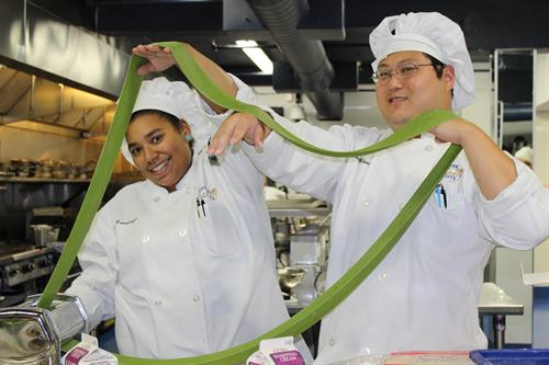 Students making pasta