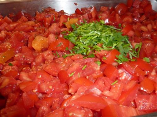 Begining of a Tomato and Herb Soup