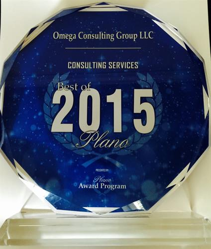 2015 Best of Plano Consulting Award