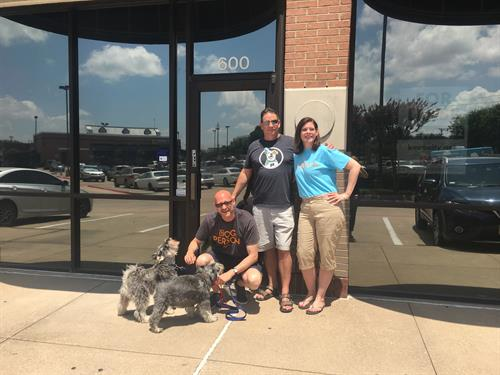 Meet the Dogtopia of Plano Team;  Paul, Jeff, Pam (Minnie & Picasso)!
