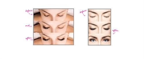 Experience the Before and After impact of Flirty Girl Eyelash Extensions