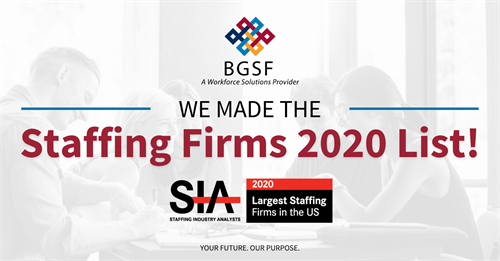 BGSF Named to SIA's Largest Staffing Firms 2020 List