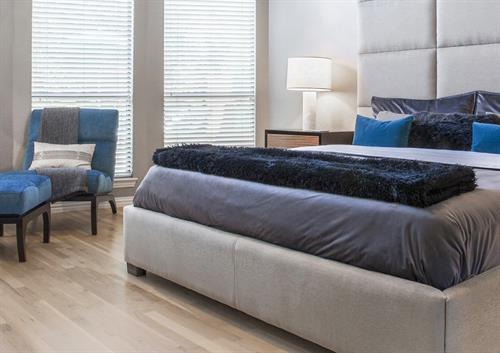 Italian Modern Blue/Gray Master Bedroom