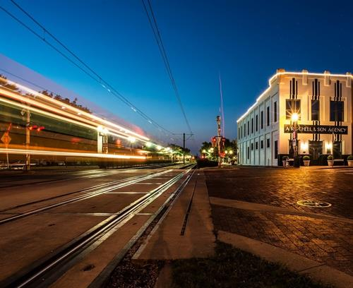 Time exposure-Schell Bldg & DART train