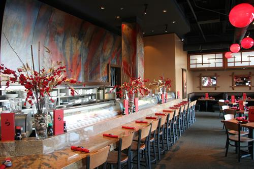 Pull up a seat at the sushi bar, sit in the large dining room or sip and socialize in the bar/lounge area