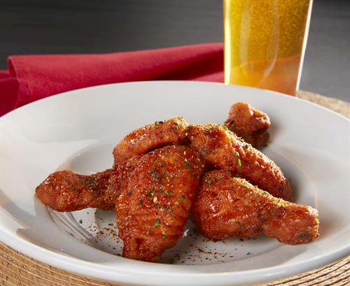 Chicken Wings, served all day under appetizers and available in 3 delicious flavors