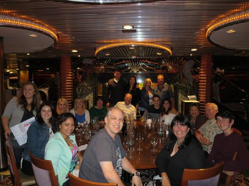 The whole MacArthur Dental Arts Family out to dinner on our Christmas cruise!