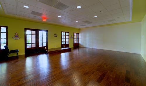 Hylunia spa's high end, spacious yoga room