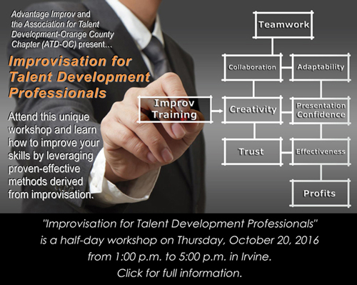 Improvisation for Talent Development Professionals half-day workshop, Oct 20, 2016