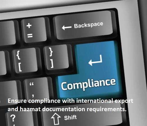 Ensure compliance with international export and hazmat documentation requirements.